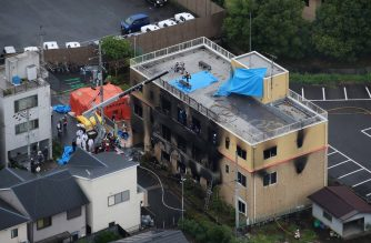 This aerial view shows the rescue and recover scene after a fire at an animation company building killed some two dozen people in Kyoto on July 18, 2019. - At least 24 people were feared dead in a suspected arson attack on the animation company in the Japanese city of Kyoto on July 18, a fire department official told AFP. (Photo by JIJI PRESS / JIJI PRESS / AFP) / Japan OUT