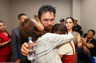 "This handout photograph taken and released on July 20, 2019 by MP Promotions shows Filipino boxer Manny Pacquiao (C) celebrating with members of his family after defeating US boxer Keith Thurman in their WBA super world welterweight title fight at the MGM Grand Garden Arena in Las Vegas, Nevada. - Pacquiao won a 12 round split decision. (Photo by Wendell ALINEA / MP Promotions / AFP) / RESTRICTED TO EDITORIAL USE - MANDATORY CREDIT ""AFP PHOTO / MP PROMOTIONS / WENDELL ALINEA"" - NO MARKETING NO ADVERTISING CAMPAIGNS - DISTRIBUTED AS A SERVICE TO CLIENTS == NO ARCHIVE"