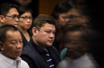 """(File photo) Former Davao City Vice Mayor and now Davao Rep. Paolo Duterte (C), son of Philippine President Rodrigo Duterte, attends a senate hearing in Manila on September 7, 2017. - Paolo Duterte and the president's son-in-law, Manases Carpio, appeared before the inquiry to deny as """"baseless"""" and """"hearsay"""" allegations linking them to large-scale illegal drugs smuggling. (Photo by NOEL CELIS / AFP)"""