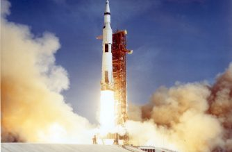 The Apollo 11 Saturn V space vehicle lifts off 16 July 1969 with astronauts Neil A. Armstrong, Michael Collins, and Edwin E. Aldrin aboard.  Druing the eight day mission, Armstrong and Aldrin descended to the the moon for 22 hours, including 2 and 1/2 hours outside the lunar module, while Collins orbited overhead in the command module.  Armstrong and Aldrin gathered samples of lunar material and deployed scientific experiments before joining Collins for the return trip to Earth.  AFP PHOTO/NASA (Photo by NASA / NASA / AFP)
