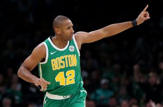 BOSTON, MASSACHUSETTS - MARCH 18: Al Horford #42 of the Boston Celtics celebrates after scoring against the Denver Nuggets during the second quarter at TD Garden on March 18, 2019 in Boston, Massachusetts. NOTE TO USER: User expressly acknowledges and agrees that, by downloading and or using this photograph, User is consenting to the terms and conditions of the Getty Images License Agreement.   Maddie Meyer/Getty Images/AFP