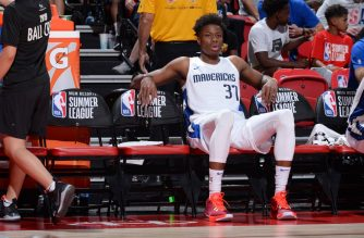 LAS VEGAS, NV - JULY 10: Kostas Antetokounmpo #37 of the Dallas Mavericks looks on during the game against Croatia on July 10, 2019 at the Thomas & Mack Center in Las Vegas, Nevada. NOTE TO USER: User expressly acknowledges and agrees that, by downloading and/or using this photograph, user is consenting to the terms and conditions of the Getty Images License Agreement. Mandatory Copyright Notice: Copyright 2019 NBAE   Bart Young/NBAE via Getty Images/AFP