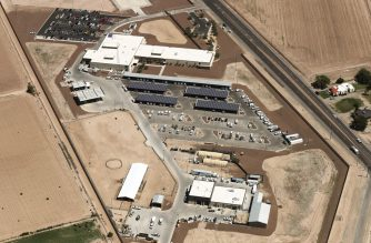 CLINT, TEXAS - JUNE 28: An aerial view of the U.S. Border Patrol facility where attorneys reported that detained migrant children had been held in disturbing conditions on June 28, 2019 in Clint, Texas. Acting commissioner of U.S. Customs and Border Protection (CBP) John Sanders submitted his resignation in the wake of the scandal. The House voted yesterday to send a $4.6 billion emergency measure to President Donald Trump to provide aid for migrants detained at the southern border.   Mario Tama/Getty Images/AFP