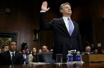 "WASHINGTON, DC - JULY 23: FBI Director Christopher Wray is sworn in prior to testimony before the Senate Judiciary Committee July 23, 2019 in Washington, DC. Wray testified on the topic of ""Oversight of the Federal Bureau of Investigation and touched on foreign interference in U.S. elections during his testimony.   Win McNamee/Getty Images/AFP"