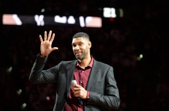 SAN ANTONIO, TX - DECEMBER 18: NBA Legend Tim Duncan is honored at his jersey retirement ceremony on December 18, 2016 at the AT&T Center in San Antonio, Texas. NOTE TO USER: User expressly acknowledges and agrees that, by downloading and or using this photograph, user is consenting to the terms and conditions of the Getty Images License Agreement. Mandatory Copyright Notice: Copyright 2016 NBAE   Mark Sobhani/NBAE via Getty Images/AFP