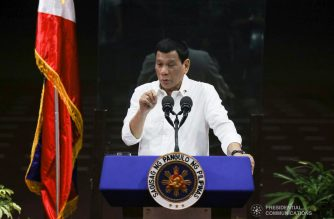 "President Rodrigo  Duterte delivers his speech during the ""Araw ng Pasasalamat"" for the Overseas Filipino Workers (OFWs) at Camp General Emilio Aguinaldo in Quezon City on July 12, 2019. TOTO LOZANO/PRESIDENTIAL PHOTO"