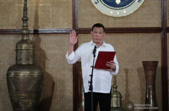 President Rodrigo  Duterte administers the oath to the newly appointed government officials during a ceremony at the Malacañan Palace on July 8, 2019. ALFRED FRIAS/PRESIDENTIAL PHOTO