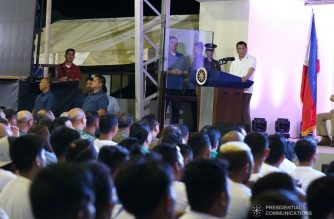 President Rodrigo Duterte delivers his speech during the ceremonial awarding of housing units to former rebels at the Freedom Residences in Tagum City on July 16, 2019. RICHARD MADELO/PRESIDENTIAL PHOTO
