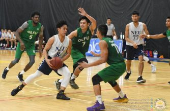 NEU Hunters in action during the semi-finals with Our Lady of Fatima University Phoenix on Saturday, July 6, at the Moro Lorenzo Sports Center inside the Ateneo de Manila University campus in Quezon City.  (Photo courtesy NEU Information office)