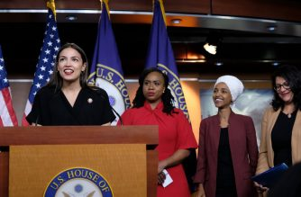 U.S. Rep. Alexandria Ocasio-Cortez (D-NY) speaks as Reps. Ayanna Pressley (D-MA), Ilhan Omar (D-MN), and Rashida Tlaib (D-MI) listen during a press conference at the U.S. Capitol on July 15, 2019 in Washington, DC. (Alex Wroblewski/Getty Images/AFP)