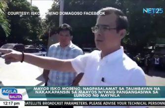 Mayor Isko Moreno, nagpasalamat sa taumbayan
