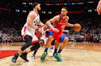 (FILE) Ben Simmons #25 of the Philadelphia 76ers handles the ball against Toronto Raptors during Game Seven of the Eastern Conference Semi-Finals of the 2019 NBA Playoffs on May 12, 2019 at the Scotiabank Arena in Toronto, Ontario, Canada. (Jesse D. Garrabrant/NBAE via Getty Images/AFP)