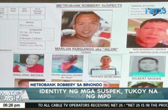 Suspects in Metrobank Binondo branch robbery identified; men linked to Parajinog group, says police