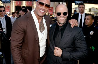"(FILES) In this file photo taken on July 14, 2019 Dwayne Johnson (L) and Jason Statham arrive at the premiere of Universal Pictures' ""Fast & Furious Presents: Hobbs & Shaw"" at Dolby Theatre on July 13, 2019 in Hollywood, California. - ""Fast & Furious Presents: Hobbs & Shaw"" dethroned ""The Lion King"" in North American theaters, opening with $60 million over the weekend, industry watcher Exhibitor Relations said August 5, 2019. (Photo by KEVIN WINTER / GETTY IMAGES NORTH AMERICA / AFP)"