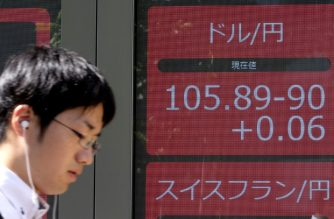 A pedestrian walks in front of an electric quotation board showing the current foreign exchange rates, including the Japanese yen against the US dollar rate, in Tokyo on August 9, 2019. (Photo by Kazuhiro NOGI / AFP)