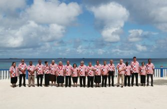 "This handout photo taken and released on August 15, 2019 by the Australian Prime Minister's Office shows Australia's Prime Minister Scott Morrison (5th R) posing for a group photo with other leaders on the sidelines of the Pacific Islands Forum in Tuvalu. - Australia's Scott Morrison arrived at a meeting of Pacific island leaders in Tuvalu with Canberra's regional leadership in question amid intense scrutiny of his government's climate change policies. (Photo by Adam TAYLOR / AUSTRALIAN PRIME MINISTER'S OFFICE / AFP) / XGTY  -----EDITORS NOTE --- RESTRICTED TO EDITORIAL USE - MANDATORY CREDIT ""AFP PHOTO / AUSTRALIAN PRIME MINISTER'S OFFICE "" - NO MARKETING - NO ADVERTISING CAMPAIGNS - DISTRIBUTED AS A SERVICE TO CLIENTS - NO ARCHIVES"