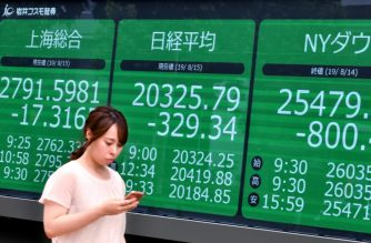 A pedestrian walks past an electric quotation board displaying the numbers on the Nikkei 225 index at the Tokyo Stock Exchange (C) and numbers of the Shanghai Stock Exchange (L) and New York Dow (R) in Tokyo on August 15, 2019. (Photo by Kazuhiro NOGI / AFP)