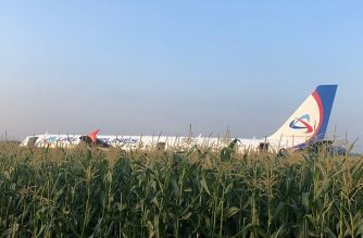 """This handout picture taken and released on August 15, 2019, by the Investigative Committee of Russia shows the Ural Airlines A321 after a hard landing on a corn field outside Moscow's Zhukovsky airport. - A Russian Airbus with more than 230 people aboard was forced to make an emergency landing in a corn field outside Moscow on on August 15, 2019 after hitting a flock of seagulls, officials said. (Photo by HO / RUSSIAN INVESTIGATIVE COMMITTEE / AFP) / RESTRICTED TO EDITORIAL USE - MANDATORY CREDIT """"AFP PHOTO / RUSSIAN INVESTIGATIVE COMMITTEE / HO"""" - NO MARKETING NO ADVERTISING CAMPAIGNS - DISTRIBUTED AS A SERVICE TO CLIENTS --- NO ARCHIVE ---"""