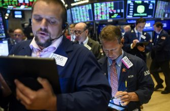 Traders work after the opening bell at the New York Stock Exchange (NYSE) on August 15, 2019 at Wall Street in New York City. - Wall Street stocks opened higher Thursday following mixed US economic data, bouncing modestly after the Dow suffered its worst session of the year. About five minutes into trading, the Dow Jones Industrial Average was at 25,531.36, up 0.2 percent. The broad-based S&P 500 also added 0.2 percent at 2,846.22, along with the tech-rich Nasdaq Composite Index, which stood at 2,846.22. (Photo by Johannes EISELE / AFP)