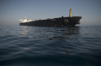 Picture shows Iranian supertanker Grace 1 off the coast of Gibraltar on August 15, 2019. - Gibraltar's Supreme Court ruled today to release an Iranian supertanker seized last month on suspicion of shipping oil to Syria in breach of EU sanctions, despite a last-minute US request to detain the vessel. (Photo by JORGE GUERRERO / AFP)