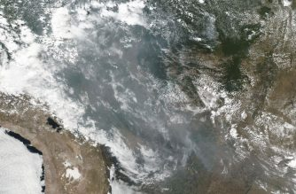 "This natural-color image obtained August 22, 2019 of smoke and fires in several states within Brazil including Amazonas, Mato Grosso, and Rondônia was collected by NOAA/NASA's Suomi NPP using the VIIRS (Visible Infrared Imaging Radiometer Suite) instrument on August 20, 2019. - Wildfires in the Amazon rainforest in northern Brazil have ignited a firestorm on social media, with President Jair Bolsonaro on August 21, 2019 suggesting green groups started the blazes.Images of fires purportedly devouring sections of the world's largest rainforest have gone viral on Twitter. #PrayforAmazonas is the top trending hashtag in the world on Wednesday, with more than 249,000 tweets. (Photo by HO / NOAA/NASA / AFP) / RESTRICTED TO EDITORIAL USE - MANDATORY CREDIT ""AFP PHOTO / NOAA/NASA/HANDOUT"" - NO MARKETING - NO ADVERTISING CAMPAIGNS - DISTRIBUTED AS A SERVICE TO CLIENTS"