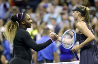 Maria Sharapova (R) of Russia shake hands after losing against Serena Williams of the United Sates during their Round 1 women's Singles match at the 2019 US Open at the USTA Billie Jean King National Tennis Center in New York on August 26, 2019. (Photo by Kena Betancur / AFP)