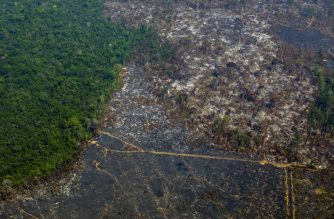 Aerial view of deforestation in Nascentes da Serra do Cachimbo Biological Reserve in Altamira, Para state, Brazil, in the Amazon basin, on August 28, 2019. (Photo by Joao LAET / AFP)