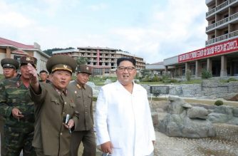 "This undated picture released from North Korea's official Korean Central News Agency (KCNA) on August 31, 2019 shows North Korean leader Kim Jong Un (R) inspecting a construction site at the Yangdok County hot spring resort. (Photo by KCNA VIA KNS / KCNA VIA KNS / AFP) / - South Korea OUT / ---EDITORS NOTE--- RESTRICTED TO EDITORIAL USE - MANDATORY CREDIT ""AFP PHOTO/KCNA VIA KNS"" - NO MARKETING NO ADVERTISING CAMPAIGNS - DISTRIBUTED AS A SERVICE TO CLIENTS / THIS PICTURE WAS MADE AVAILABLE BY A THIRD PARTY. AFP CAN NOT INDEPENDENTLY VERIFY THE AUTHENTICITY, LOCATION, DATE AND CONTENT OF THIS IMAGE --- /"
