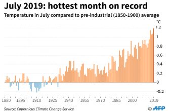 July hottest month measured, 2019 set to be among warmest years