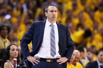 OAKLAND, CA - JUNE 14: Head coach David Blatt of the Cleveland Cavaliers reacts in the first quarter against the Golden State Warriors during Game Five of the 2015 NBA Finals at ORACLE Arena on June 14, 2015 in Oakland, California. NOTE TO USER: User expressly acknowledges and agrees that, by downloading and or using this photograph, user is consenting to the terms and conditions of Getty Images License Agreement.   Ezra Shaw/Getty Images/AFP
