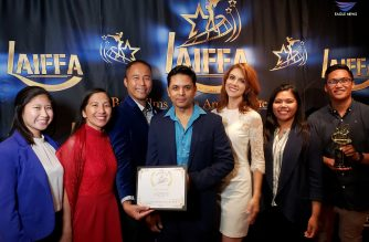 EBC Los Angeles Bureau with Jaz Shrestha, Festival Producer, at the Los Angeles Independent Film Festival Award as they represent EBC Films in accepting the Best Foreign Feature film award. Photo by EBC Los Angeles Bureau, Eagle News Service.