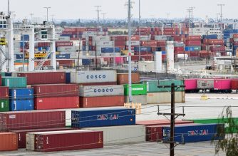 Containers are seen at the Port of Los Angeles on June 18, 2019 in San Pedro, California, where the US-China trade war has created logistical havoc on the docks following a months-long surge if imports in anticipation of higher tariffs. (Photo by Frederic J. Brown / AFP)