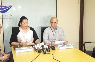 Bir Deputy Commissioner Marissa Cabreros and BIR Assistant Commissioner James Roldan announce on Thursday, Aug. 29, the  filing of a tax evasion case against Reyna Apolinario, the corporate secretary of Kapa Community Ministry International Inc. She is also the wife of Kapa founder Joel Apolinario. /Moira Encina/Eagle News/