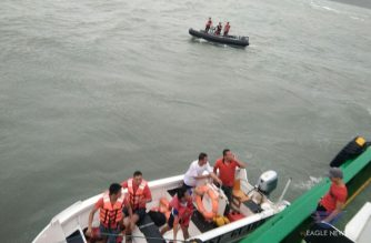Rescue operations on Saturday, August 3, 2019 in rough seas between Iloilo and Guimaras province in the Philippines after three passenger boats capsized.  At least 37 people, including passengers and some of the boats' crew members, have been rescued so far by the Philippine Coast Guard (Photo courtesy EBC Iloilo correspondent Kian Rose, Eagle News Service)