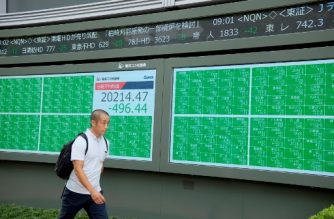 A pedestrian walks in front of an electric quotation board displaying the numbers on the Nikkei 225 index at the Tokyo Stock Exchange in Tokyo on August 26, 2019. - Tokyo's key Nikkei index plunged as much as 2.6 percent at the open on August 26 as the yen surged against the dollar on escalating US-China trade tensions. (Photo by Kazuhiro NOGI / AFP)