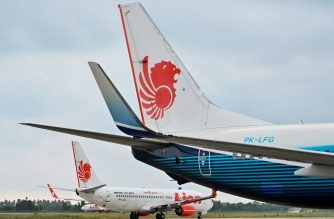 This picture taken on September 3, 2019, shows Lion Air Boeing 737-800 aircraft at the airport in Padang, West Sumatra. (Photo by ADEK BERRY / AFP)