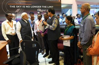 """In this handout photo taken and released on September 7, 2019 by India's Press Information Bureau (PIB), Indian Prime Minister Narendra Modi (2nd L) speaks with Indian Space Research Organisation (ISRO) scientists at the ISRO headquarters in Bangalore. - India lost communication with its unmanned spacecraft on September 7 just before it was due to land on the Moon, in a major setback to the country's lunar ambitions amid renewed interest in Earth's satellite. (Photo by Handout / PIB / AFP) / -----EDITORS NOTE --- RESTRICTED TO EDITORIAL USE - MANDATORY CREDIT """"AFP PHOTO / INDIA'S PRESS INFORMATION BUREAU (PIB) """" - NO MARKETING - NO ADVERTISING CAMPAIGNS - DISTRIBUTED AS A SERVICE TO CLIENTS"""
