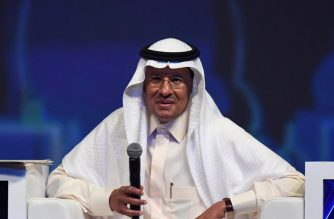 Saudi Arabia's Energy Minister Prince Abdulaziz bin Salman speaks during the opening ceremony of the 24th World Energy Congress (WEC) in the UAE capital Abu Dhabi on September 9, 2019. - In his first comments since being appointed by his father King Salman, the minister signalled no major change in approach in Saudi Arabia, the de facto leader of OPEC which pumps about a third of the cartel's oil. (Photo by KARIM SAHIB / AFP)