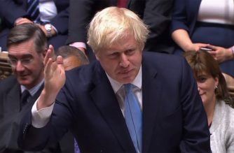 "A video grab from footage broadcast by the UK Parliament's Parliamentary Recording Unit (PRU) shows Britain's Prime Minister Boris Johnson speaks to introduce his motion for an early general election in the House of Commons in London on September 9, 2019, - British MPs voted Monday to demand Prime Minister Boris Johnson release confidential documents relating to Britain's EU exit, during a final day of defiance before he suspends their session until just weeks before Brexit. (Photo by HO / PRU / AFP) / RESTRICTED TO EDITORIAL USE - MANDATORY CREDIT "" AFP PHOTO / PRU "" - NO USE FOR ENTERTAINMENT, SATIRICAL, MARKETING OR ADVERTISING CAMPAIGNS - EDITORS NOTE THE IMAGE HAS BEEN DIGITALLY ALTERED AT SOURCE TO OBSCURE VISIBLE DOCUMENTS"