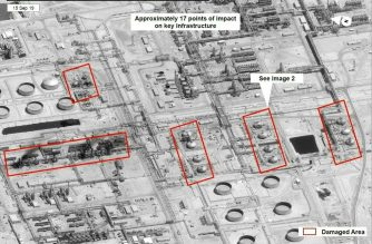 "This satellite overview handout image obtained September 16, 2019 courtesy of the US Government shows damage to oil/gas infrastructure from weekend drone attacks at Abqaig on September 15, 2019 in Saudi Arabia. - Drone attacks on key Saudi oil facilities have halved crude output from OPEC's biggest exporter, catapulting oil prices by the largest amount since the first Gulf War. The crisis has focused minds on unrest in the crude-rich Middle East, with Tehran denying Washington's charge that it was responsible.Brent oil prices leapt 20 percent on Monday to chalk up the biggest intra-day daily gain since 1991. (Photo by HO / US Government / AFP) / RESTRICTED TO EDITORIAL USE - MANDATORY CREDIT ""AFP PHOTO /US GOVERNMENT/HANDOUT "" - NO MARKETING - NO ADVERTISING CAMPAIGNS - DISTRIBUTED AS A SERVICE TO CLIENTS"