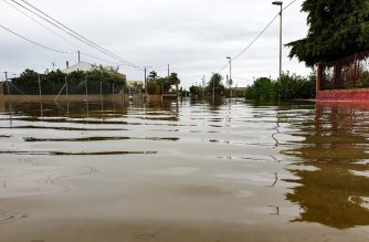 """A handout picture released by the Spanish army's emergency unit UME shows a flooded area in the eastern province of Murcia on September 14, 2019. - Southeastern Spain has been battered since September 12, 2019 by torrential rains, causing huge flooding and chaos on the roads in several provinces, leaving many areas cut off. After causing havoc in the regions of Valencia, Murcia and western Andalucia, the storm has since moved towards the central and west of the country, causing widespread flooding. (Photo by Handout / UME / AFP) / RESTRICTED TO EDITORIAL USE - MANDATORY CREDIT """"AFP PHOTO /HO/ SPANISH ARMY'S EMERGENCY UNIT UME """" - NO MARKETING - NO ADVERTISING CAMPAIGNS - DISTRIBUTED AS A SERVICE TO CLIENTS"""