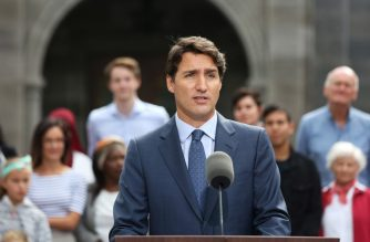 (FILES) In this file photo taken on September 11, 2019 Liberal Party leader and Canada's Prime Minister Justin Trudeau speaks during a news conference at Rideau Hall in Ottawa. - Canada's Prime Minister Justin Trudeau, a fervent advocate of the multiculturalism integral to Canadian identity, wore brownface makeup to a party at a school where he taught 18 years ago, Time magazine reported on September 18, 2019. (Photo by Dave Chan / AFP)