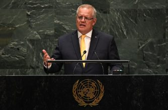 Prime Minister of Australia Scott Morrison speaks at the 74th Session of the General Assembly at the United Nations headquarters on September 25, 2019 in New York. (Photo by TIMOTHY A. CLARY / AFP)