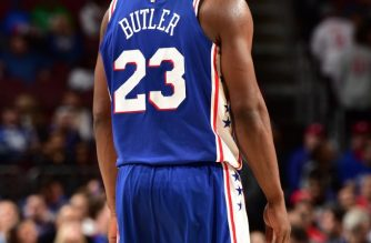 PHILADELPHIA, PA - MARCH 28: Jimmy Butler #23 of the Philadelphia 76ers smiles during a game against the Brooklyn Nets on March 28, 2019 at the Wells Fargo Center in Philadelphia, Pennsylvania NOTE TO USER: User expressly acknowledges and agrees that, by downloading and/or using this Photograph, user is consenting to the terms and conditions of the Getty Images License Agreement. Mandatory Copyright Notice: Copyright 2019 NBAE   David Dow/NBAE via Getty Images/AFP