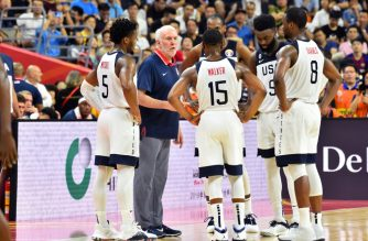 DONGGUAN, CHINA - SEPTEMBER 11: Head Coach Gregg Popovich of USA talks to the team during the game against France during the 2019 FIBA World Cup Quarter-Finals on September 11, 2019 at the Dongguan Basketball Center in Dongguan, China. NOTE TO USER: User expressly acknowledges and agrees that, by downloading and/or using this photograph, user is consenting to the terms and conditions of the Getty Images License Agreement. Mandatory Copyright Notice: Copyright 2019 NBAE   Jesse D. Garrabrant/NBAE via Getty Images/AFP