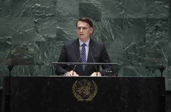 NEW YORK, NY - SEPTEMBER 24: President of Brazil Jair Messias Bolsonaro addresses the United Nations General Assembly at UN headquarters on September 24, 2019 in New York City. World leaders from across the globe are gathered at the 74th session of the UN General Assembly, amid crises ranging from climate change to possible conflict between Iran and the United States.   Drew Angerer/Getty Images/AFP