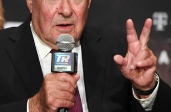 LAS VEGAS, NEVADA - SEPTEMBER 11: Top Rank Founder and CEO Bob Arum speaks during a news conference for the heavyweight fight between Tyson Fury and Otto Wallin at MGM Grand Hotel & Casino on September 11, 2019 in Las Vegas, Nevada. Wallin and Fury will meet in a heavyweight bout on September 14 at T-Mobile Arena in Las Vegas.   Ethan Miller/Getty Images/AFP