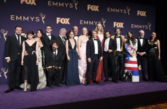 LOS ANGELES, CALIFORNIA - SEPTEMBER 22: Cast and crew of 'Game of Thrones' pose with awards for Outstanding Drama Series in the press room during the 71st Emmy Awards at Microsoft Theater on September 22, 2019 in Los Angeles, California.   Frazer Harrison/Getty Images/AFP