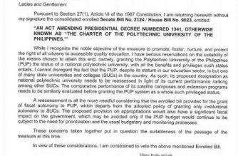 President Rodrigo Duterte has vetoed the Senate and House of Representatives consolidated bill that aims to grant national polytechnic university status to the Polytechnic University of the Philippines.