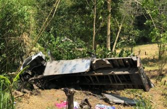 Over a dozen people were killed after this truck fell off a cliff in South Cotabato on Tuesday, Sept. 17. /Philippine Red Cross/